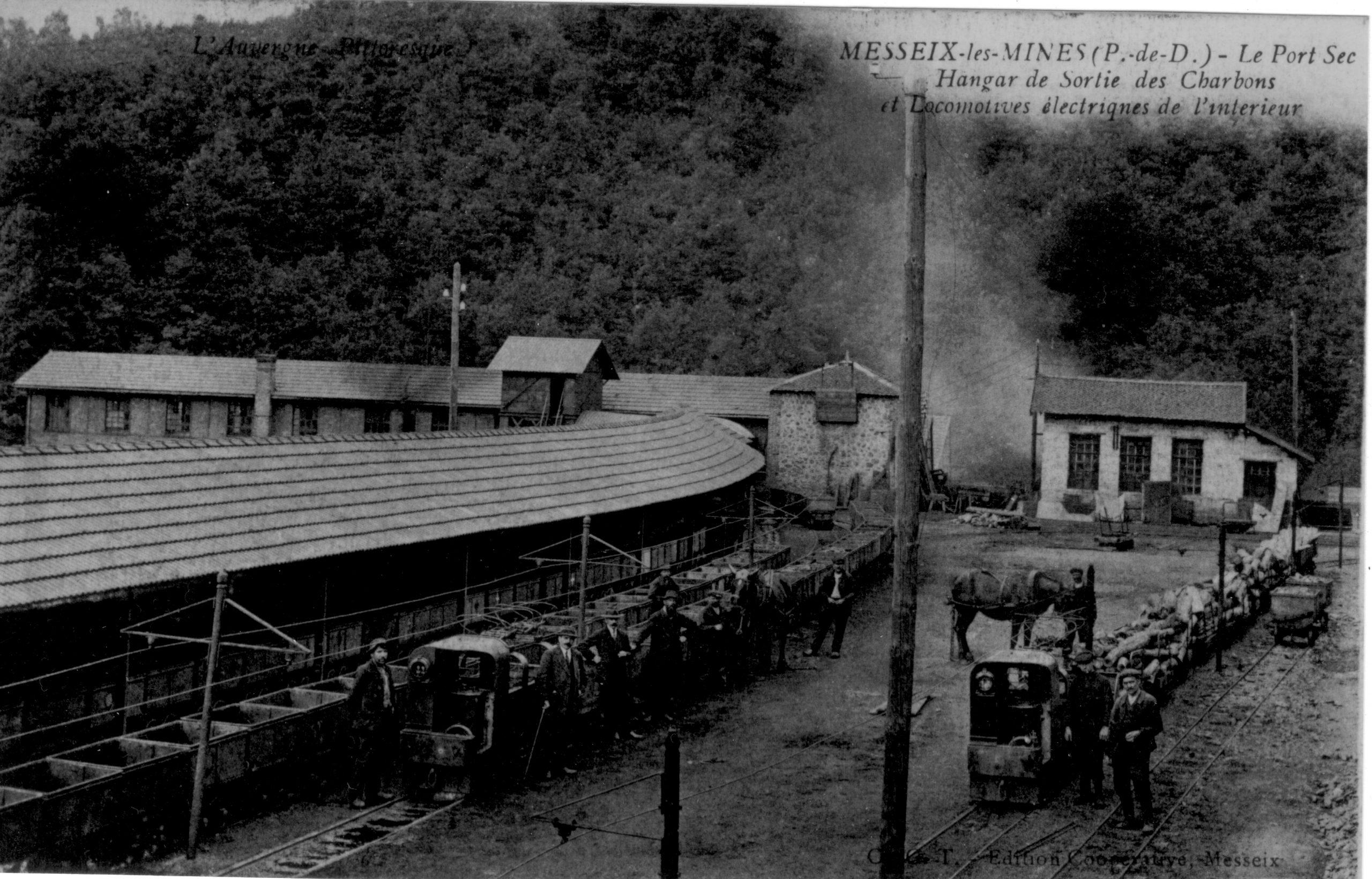 histoire du musée de la mine de Messeix-desserte ferroviaire du Port Sec- Les berlines et les chevaux