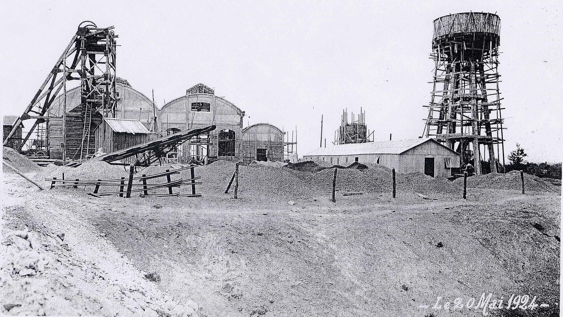 histoire-mine de Messeix -fonçage du puits Saint-Louis 1924